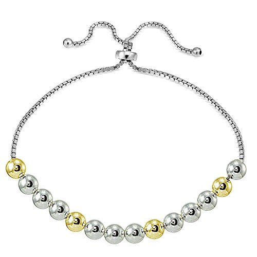 Hoops & Loops Sterling Silver Yellow Gold Flashed Two-Tone 6mm Bead Adjustable Bracelet