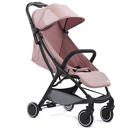 Babysing Compact Fold Lightweight Travel Stroller, Extended Canopy, Reclining Seat, Airplane Friendly, One-Hand Fold, Pink,5.5KG