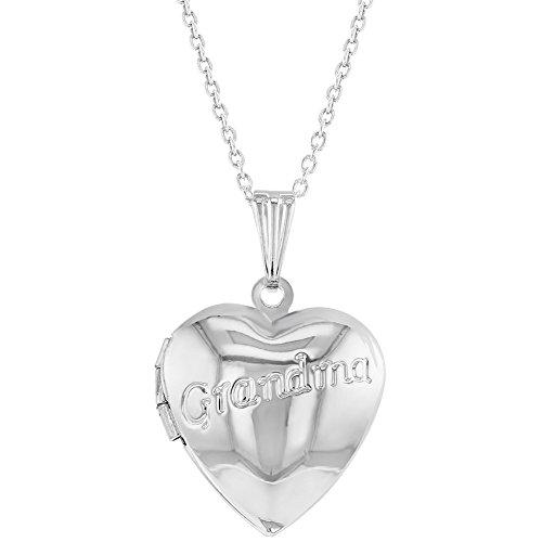 (In Season Jewelry Grandma Locket Necklace Heart Photo Family Love 19