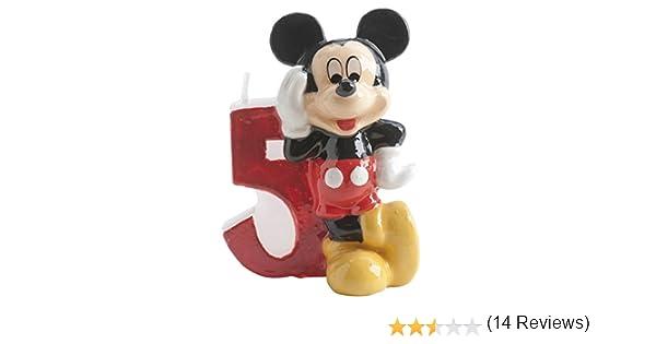 dekora 346145 Vela nº 5 con Diseno Mickey, 6,5 cm, Cera, 6.5