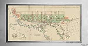 1872 Map Canada Ontario Huron Lake Topographical Plan Of