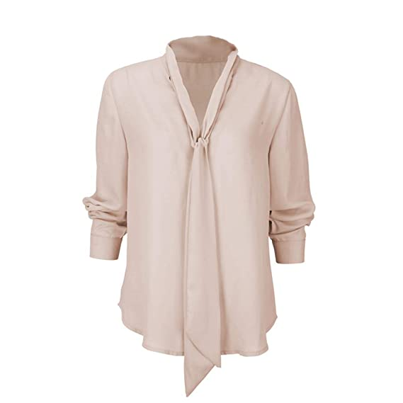 Mujer blusa otoño,Sonnena ❤ Camisa de manga larga sólida para mujer Corbata informal con cuello en V Blusa de chifón blusa de arriba: Amazon.es: Hogar