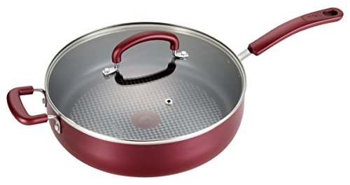 T-fal B13082 Color Luxe Hard Titanium Nonstick Thermo-Spot Dishwasher Safe PFOA Free Saute Pan Jumbo Cooker Cookware, 5-Quart, Red