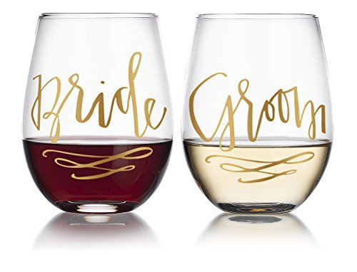 Bride & Groom Engagement/Wedding Gift Stemless Wine Glasses (2-Glasses) 20oz by Fine Occasion in Gold Writing