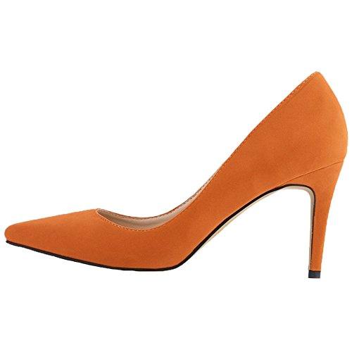 Pointu De Orange De Chaussures Femmes Travail Daim HooH Mariage Escarpins 6qH1xA