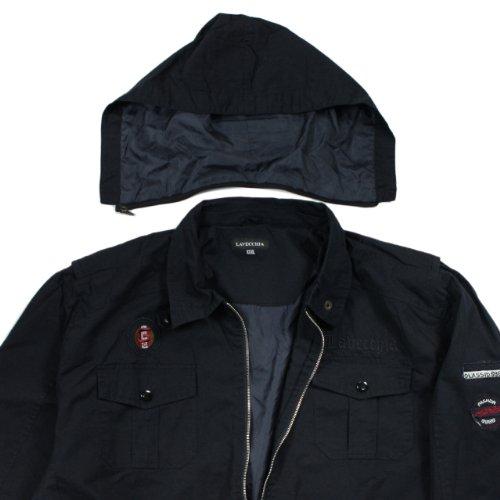 Herren Jacke für den Übergang mit abnehmbarer Kapuze in Übergröße von Lavecchia schwarz