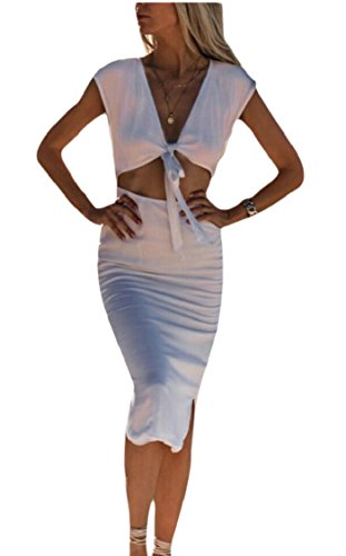 Women Sleeveless Cut White Sexy Neck Tie Front V Bodycon Out Dress Jaycargogo OEwUHqdU