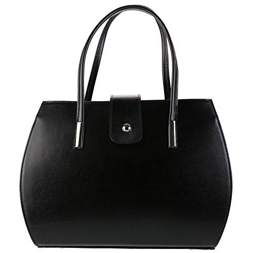 main Sac cm cuir 35x27x14 Olivia MILANO à Cuir Noir Noir mode Sac femme qEF00ad