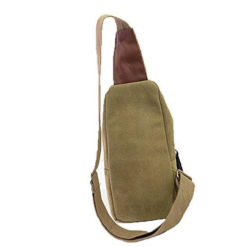 aiyuda Hombres Mujeres Bolsa De Lona desequilibrio Pack Crossbody Sling hombro pecho bolsa mochila mochila para todos los deportes, color negro, tamaño talla única caqui