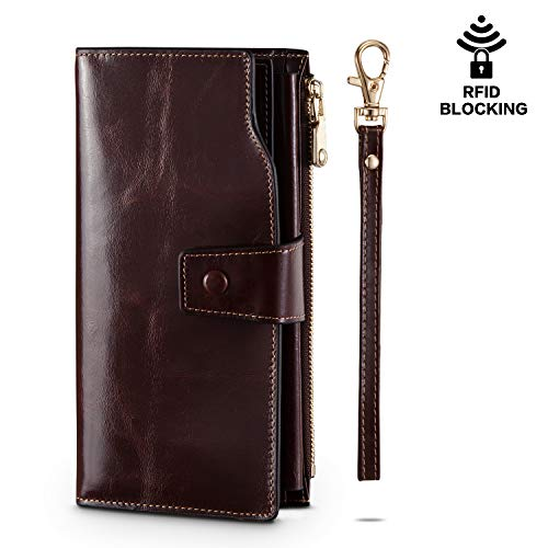 UMODE RFID Blocking Removable Slot Genuine Leather Large Capacity Luxury Women Clutch Wallet Organizer Purse Card Holder (Coffee)