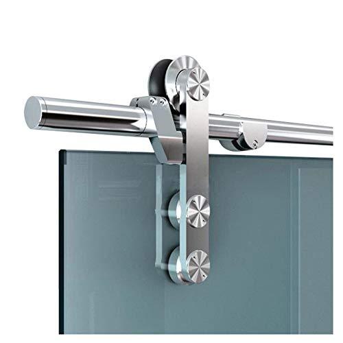 Diyhd 6.6FT Easy Mount Stainless Steel Glass Sliding Barn Door Interior Partition Door Office Glass Door Sliding Track Kit (6.6ft-Single Door kit)
