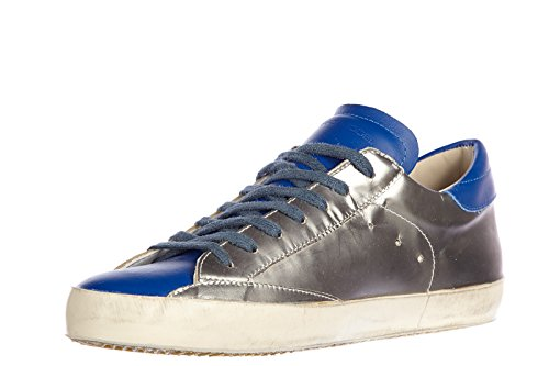 Philippe Model chaussures baskets sneakers homme en cuir classic vintage argent