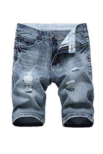 Vosujotis Hombres Pantalones Cortos De Mezclilla Ripper Hoyos Bolsillos Slim Plus Tamaño Jeans Azul 2color