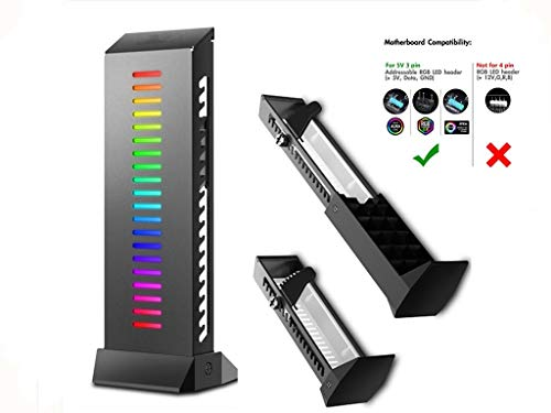 - RGB Graphics Card GPU Brace Support Holder Support 5Kg Graphics Card Wire Hiding Addressable RGB GPU Brace Saw-tooth Adjustment Custom Desktop PC Gaming GPU Stand Case Mod RGB Only for 3 Pin Connector