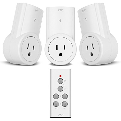 Etekcity Wireless Remote Control Electrical Outlet Switch for Household Appliances, White (Fixed Code, 3Rx-1Tx) (Remote Controlled Outlet)