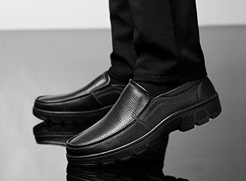 De 47 A Goma Mano Black 39 Swnx Zapatos Talla Hecho Genuino Invierno Hombre 45 Black Slip Negro Marrón Cuero 42 on Informal 5TPFpq