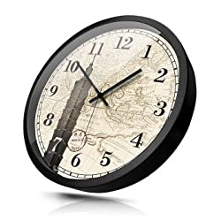 Stylish Silent wallCreative Living Room Mute 12 inch World time Zone Wall Clock Thailand Grand Palace Hotel Lobby Front Desk Quartz Clock Metal Black 14 inches (Diameter 35cm) 101 Building