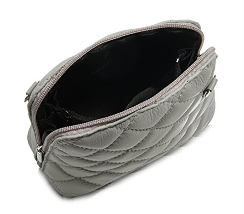 Bag Small Leather Made Italian Micro Silver Strap and Quilted Metal Shoulder Leather Hand with Real Handbag Chain Black Genuine qXIzwx