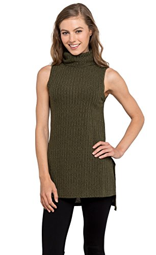 Women's Turtleneck Sleeveless Ribbed Tunic Sweater Tank Top by Velucci (Olive M) (Rayon Sleeveless Wrap Top)