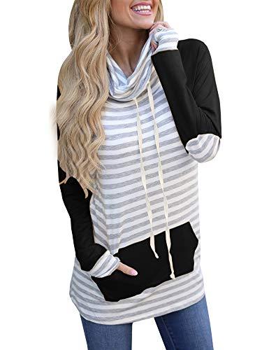 - Meilidress Womens Tunic Striped Long Sleeve Raglan Sweatshirts Cowl Neck Tops with Pocket Drawstring