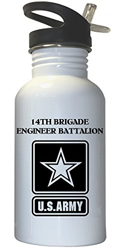 14th Brigade Engineer Battalion - US Army White Stainless Steel Water Bottle Straw Top, 1027
