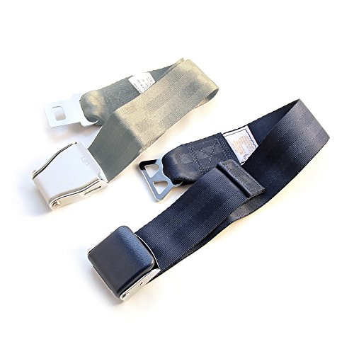 FAA Approved - Airplane Seat Belt Extender 2-Pack - FITS ALL AIRLINES (Type A + B) - FREE VELOUR POUCH (Airlines United Plane Types)