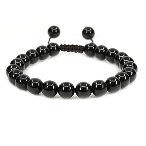 (Natural A Grade Black Tourmaline Gemstone 8mm Round Beads Adjustable Braided Macrame Tassels Chakra Reiki Bracelets 7-9 inch Unisex)