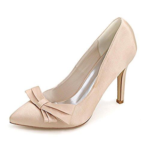 L@YC Frauen High Heels Feine Ferse F0608-02 Plattform Bogen Hochzeit & Nacht / Elfenbein Rot Blau # Champagne