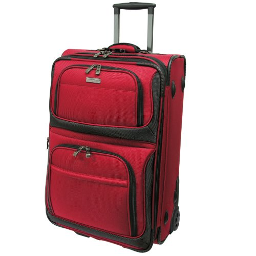Traveler's Choice Conventional II Lightweight Expandable Rugged Rollaboard Rolling Luggage - Red  (22-Inch)