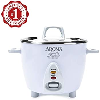 Aroma Housewares Simply Stainless 14-Cup (Cooked)(7-Cup UNCOOKED) Rice Cooker, Stainless Steel Inner Pot (ARC-757SG)