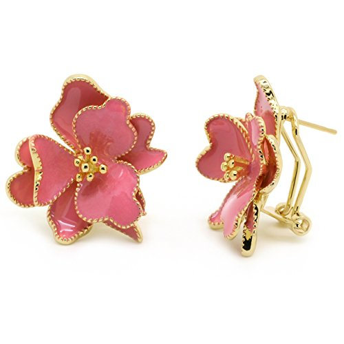 Enamel Pierced Earrings - Pink Flower Stud Earrings Enamel Wild Rose Gold Plated Women Fashion Omega Back