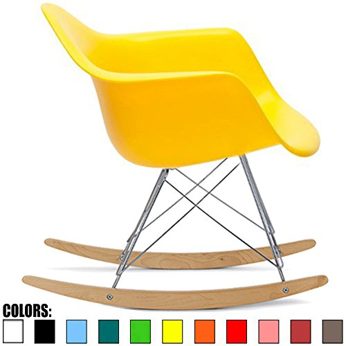 2xhome Yellow Mid Century Modern Molded Shell Designer Plastic Rocking Chair Chairs Armchair Arm Chair Patio Lounge Garden Nursery Living Room Rocker Replica Decor Furniture DSW Chrome
