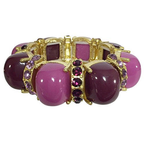 Gypsy Jewels Purple Tones Rhinestone Resin Bubble Dome Gold Tone Fun Stretch Bracelet