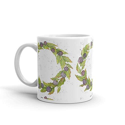 Blackberry Wreath Mug 11 Oz White Ceramic