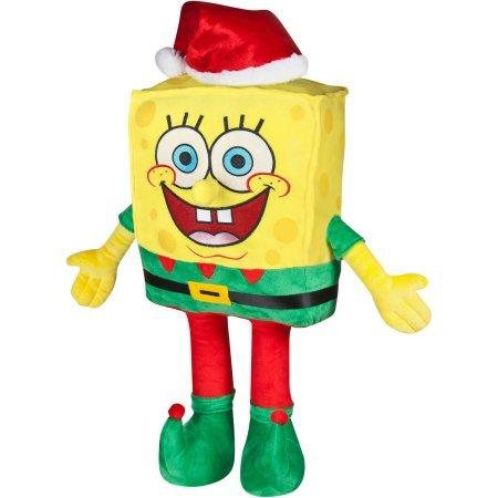 24 Inch Spongebob Dressed as Santa Claus Freestanding Plush Christmas Greeter
