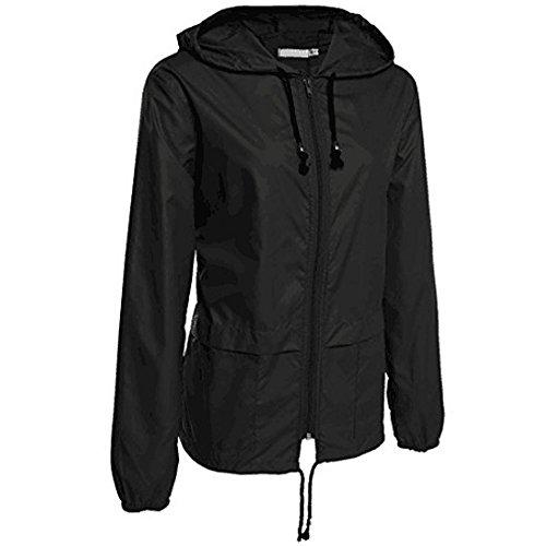 Manteau À Léger Air Kindoyo Plein Noir Zipper Veste Vêtements Camping Pluie Imperméable De Capuchon Femmes qxSU7C
