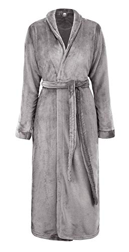 Simplicity Unisex Plush Spa Hotel Kimono Bath Robe Bathrobe Sleepwear Steel Grey, One Size ()