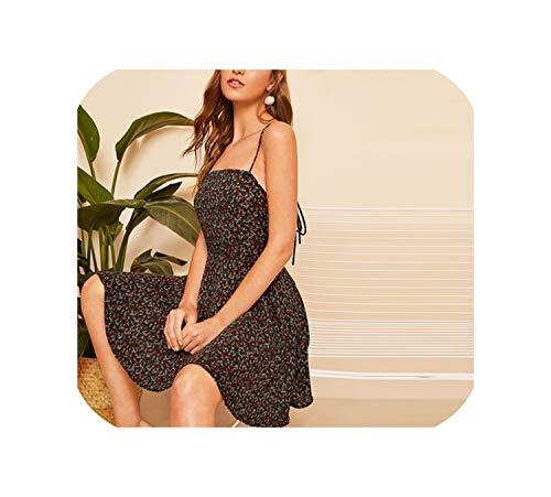 - Floral Print Fit Flare Cami Short Dress Spaghetti Strap Modern Lady Women Sleeveless Dresses,Multi,M
