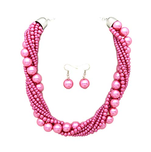 Fashion 21 Women's Twisted Multi-Strand Simulated Pearl Statement Necklace and Earrings Set (Pink Tone) ()