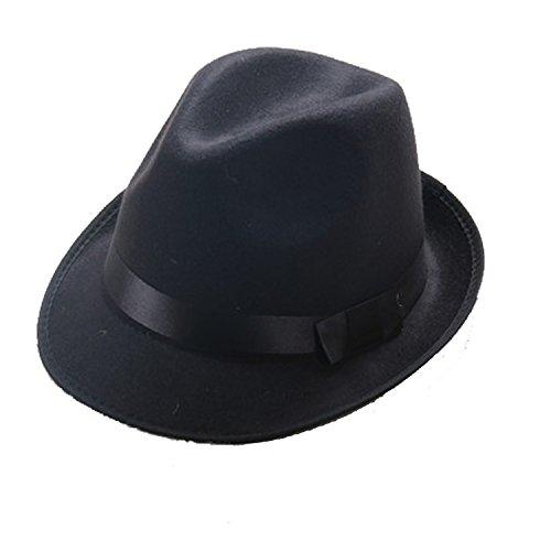 1920s Mens Accessories Hard Felt Wide Brim Panama Hat, Y-Back Elastic Suspenders & Pre Tied Bow Tie, Gangster Tie,Toy Cigar & Fake Mustache (OneSize, Black)