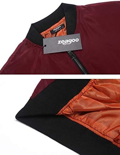 Zeagoo Women Classic Solid Biker Jacket Zip up Bomber Jacket Coat