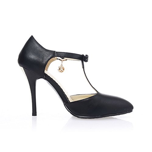 VogueZone009 Women's PU Solid Buckle Pointed Closed Toe High-Heels Sandals Black Nr2JtcNJXV