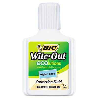 BIC Products - BIC - Wite-Out Water-Based Correction Fluid, 20 ml Bottle, White - Sold As 1 Each - Low VOCs compared to BIC solvent-based correction fluid. - The Wite-Out - Correction Fluid Type