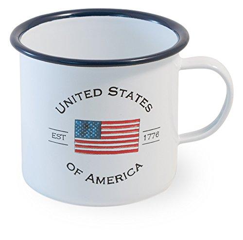Boston International Enamelware Large Mug, 5 x 5-Inches, USA Flag