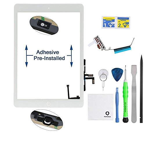 Fixcracked Touch Screen Replacement Parts Digitizer Glass Assembly for Ipad air 1st (ipad 5) + WiFi Antenna Cable and Professional Tool Kit (White)