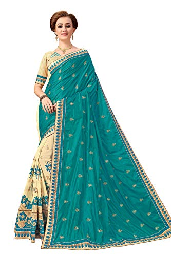 (Nivah Fashion Women's Silk & Georgette Embroidery work sari With Blouse piece K791 (Turquoise))