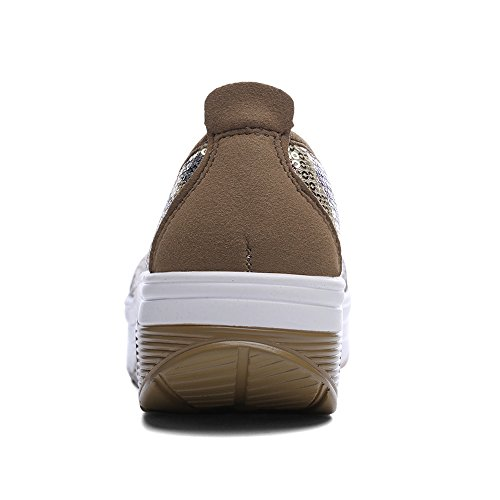 EnllerviiD Women Sequins Slip-On Platform Sneakers Shape UPS Fitness Toning Walking Shoes 1616 Gold qpiwNKi