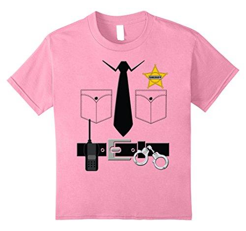 Sheriff Costume Girl (Kids Sheriff Halloween Costume T-Shirt 8 Pink)