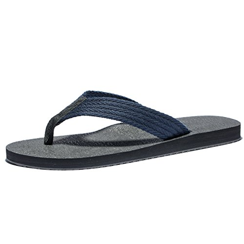 Flip Flops For Men, The Best Summer Beach Big Man Slippers, Mens Large Size Wide Platform Thong Sandals (44M EU / 10 D(M) US, Black+Blue)