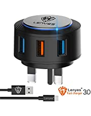 Lenyes USB Fast Charge Plug/USB Wall Charge 3.0, 3 Port (Fast 3.0 + 2 USB) Uk Wall Plug Portable Adapter with Power Fast 3.0 Suitable for iphone/Samsung Galaxy/LG/HTC/Huawei